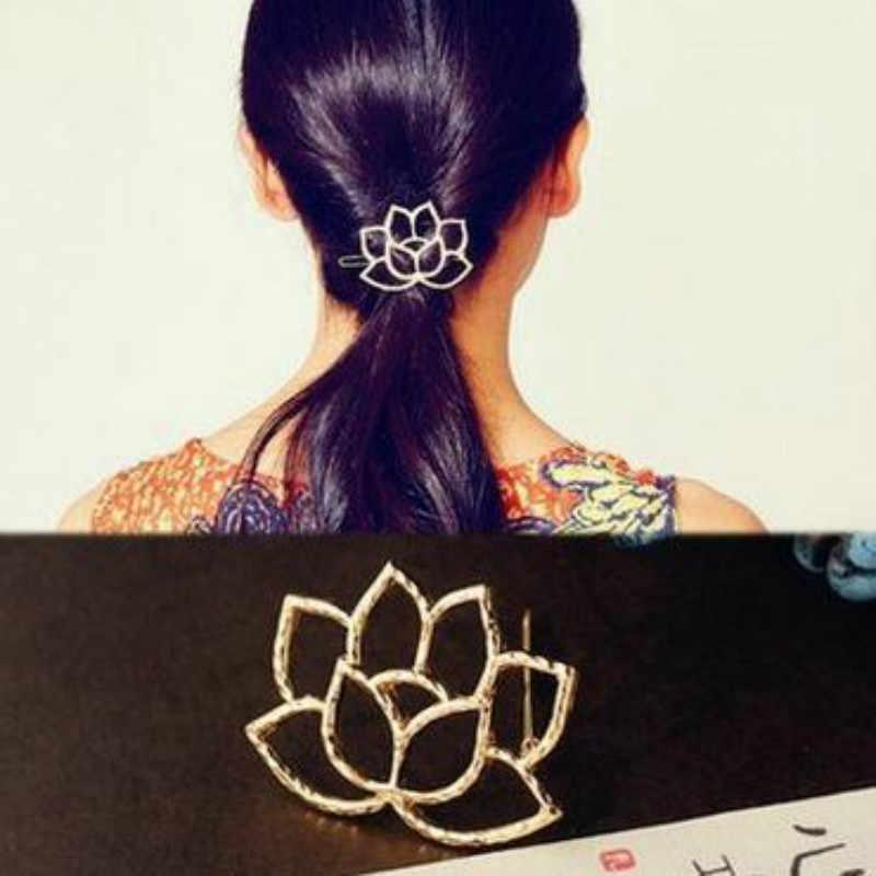 2018 cheveux Accessoires pour femmes Boutique Lotus métal alliage Art rétro épingle à cheveux mode femme couleur pince à cheveux Accessoires 5.2*4 cm