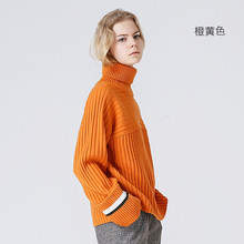 b9b4587734 Toyouth Orange Color Turtleneck Sweater Women All-Match Knitted Pullovers  And Sweaters Vintage Contrast Color