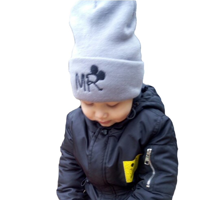 Winter Baby Kids Knitted Beanies Hat Children Warm Mrs Mr Embroidery Cartoon Cap Bonnet Autumn Casual Cute Boys Girls Hats Gorro