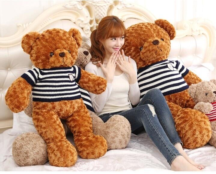 ФОТО large 100cm brown teddy bear plush toy blue stripes sweater bear doll, birthday gift w3073