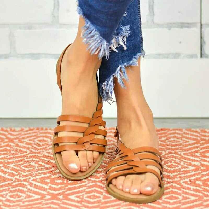 ผู้หญิงสุภาพสตรีสายคล้องคอข้อเท้า Buckle Braided Cushioned รองเท้าแตะโรมันรองเท้าผู้หญิงรองเท้าแตะแฟชั่น peep toe ฤดูร้อนรองเท้าผู้หญิง