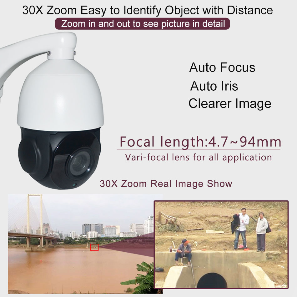 CCTV Security HD 1080P Auto tracking PTZ Camera AHD CVI TVI CVBS Analog 4in1 Speed Dome Camera 30X Optical Zoom IP66 Waterproof