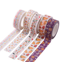 Pretty Floral Washi Tape Flower Ivy Washi Tape In Pastel Colors Adhesive Tape With Small Blue