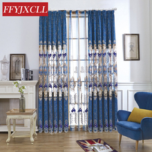 Europe Beautiful Half Shading Curtains For living Room Bedroom Window Floral Embroidered Tulle Drapes Decoration Home