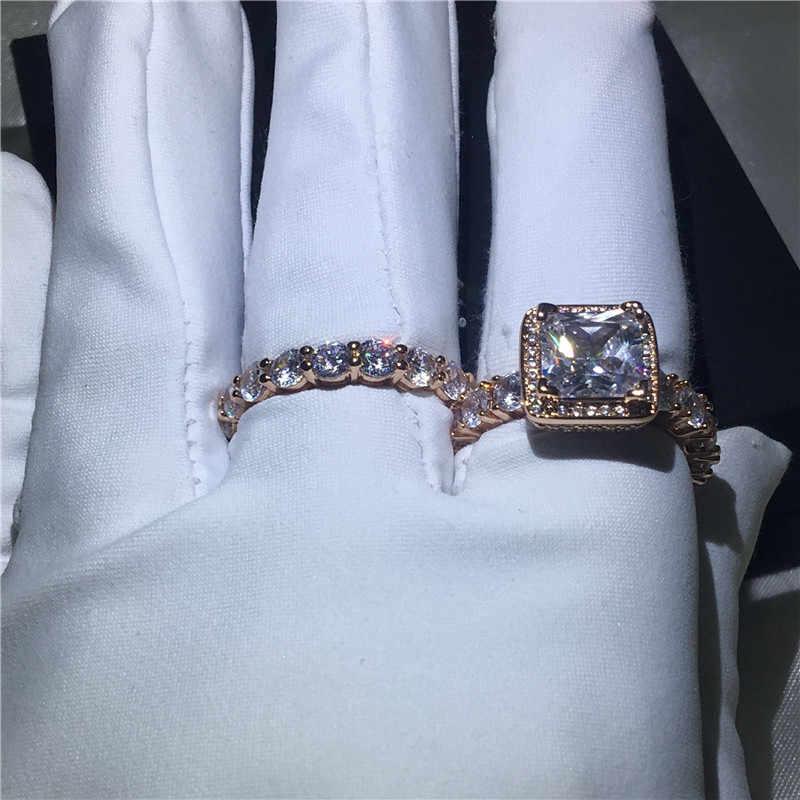 Choucong 2018 VINTAGE แหวน 5A zircon CZ Rose Gold Filled 925 เงินแหวนชุดสำหรับเจ้าสาว bijoux