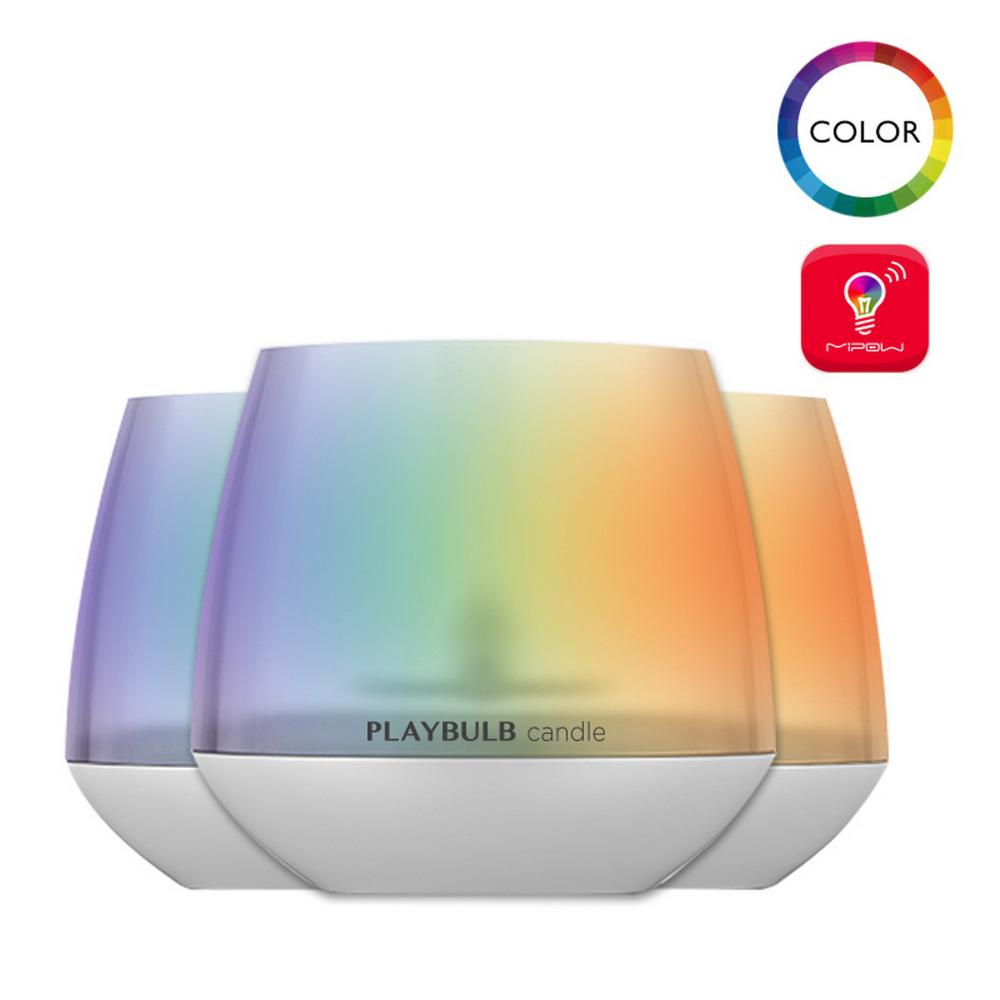 MIPOW Pack of 3 Smart Candle Aromatherapy LED Candles Light Color Flameless Multi-Colors APP PLAYBULB X Free