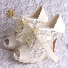 Фирменное наименование магия шнуровкой бежевый высокого пятки свадебные туфли для дам с лентой