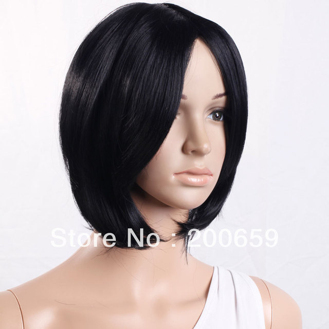 Free Shipping   New Popular 12.6 inch Short Turnup Side Bang Hair Wig Black brazilian top closure Ship from USA