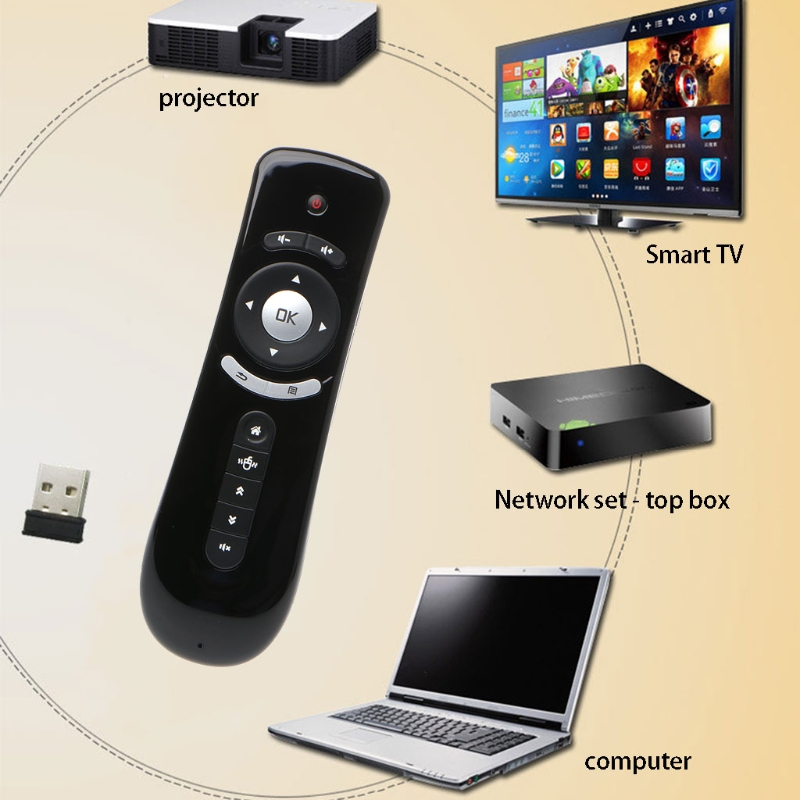2,4 GHz Fly Air ratón T2 Control remoto inalámbrico 3D Gyro movimiento Stick para 3D Sense juego PC Android TV caja de Google TV Smart TV