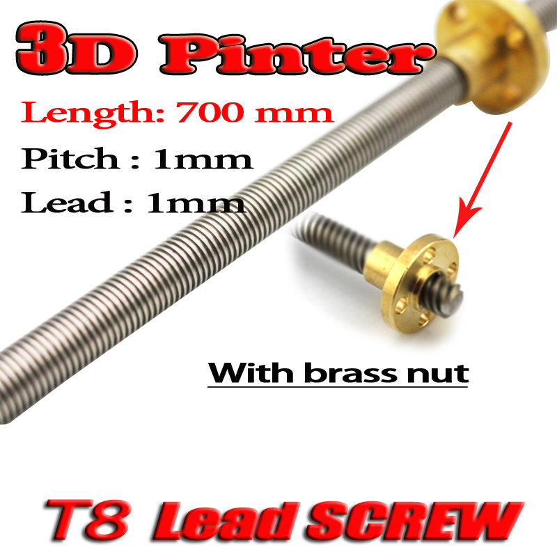 3D Printer THSL-700-8D Lead Screw Length 700mm with Copper Nut Dia 8MM Pitch 1mm Lead 1mm Free Shipping 3d printer thsl 600 8d lead screw length 600mm with copper nut dia 8mm pitch 2mm lead 4mm free shipping