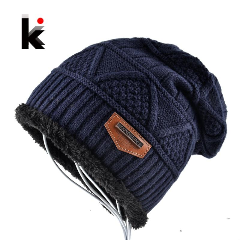 Moške Skullies klobuk pokrovček zimske kapa pletene volne klobuk plus barve kapa debelejša maska robu kape klobuki za moške  t