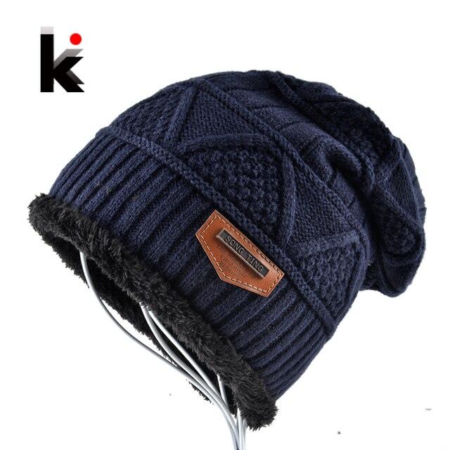 46d941034b7 Men s Skullies Hat Bonnet Winter Beanie Knitted Wool Hat Plus Velvet Cap  Thicker Mask Fringe Beanies Hats for men