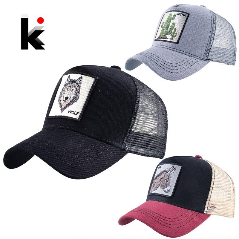 Embroidery Baseball Caps Men Women Snapback Summer Breathable Mesh Hat 3 Pcs Set Farm Animal Plant Sets Streetwear Hip Hop Hats 1