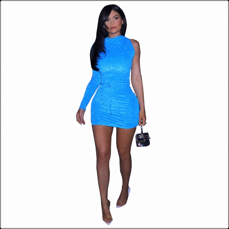 Autumn Winter One Shoulder Long Sleeve Velvet Dress Blue Women Sexy Bodycon Short Mini Dresses Elegant Solid Color Elastic Slim in Dresses from Women 39 s Clothing