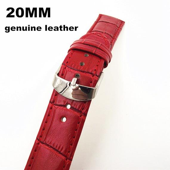 Groothandel-10 Stks/partijen Hoge kwaliteit 20 MM echt lederen horloge band rode color-070705