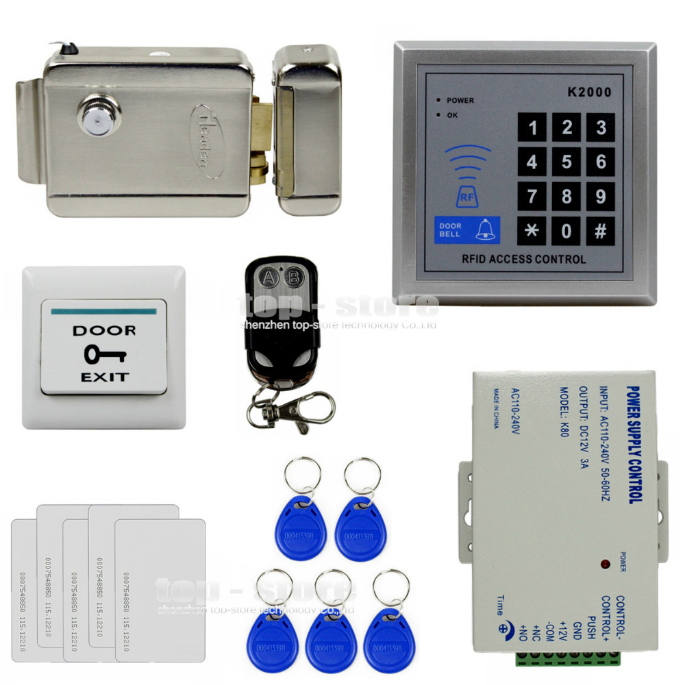 DIYSECUR Remote Control Access Controller 125KHz Rfid Keypad Access Control System Kit Electronic Door Lock Power