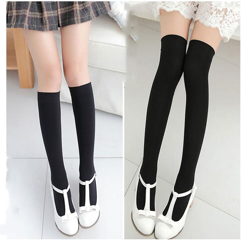 Spring And Summer Ladies Solid Color Calf Socks Long Tube Over Knee Socks Japanese Mid Tube Socks Velvet White Black