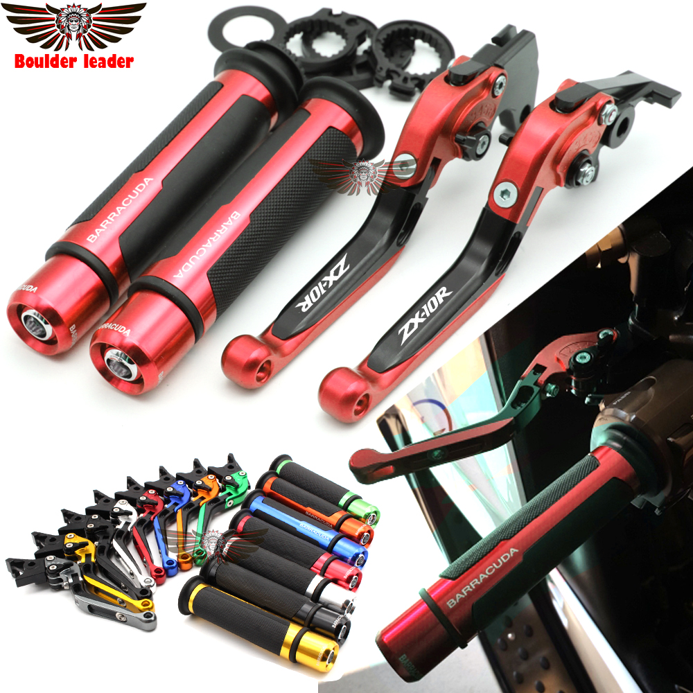For kawasaki <font><b>ZX10R</b></font> 2006-2015 2007 <font><b>2008</b></font> 2009 2010 2011 Motorcycle Adjustable Folding Brake Clutch Levers Handlebar Hand Grips image