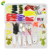 100 Pcs/box Fishing Accessories Tackle Soft Worm Lures Metal Spinner Spoon Lure Night Fishing Lures Fishhooks Connectors Sinkers