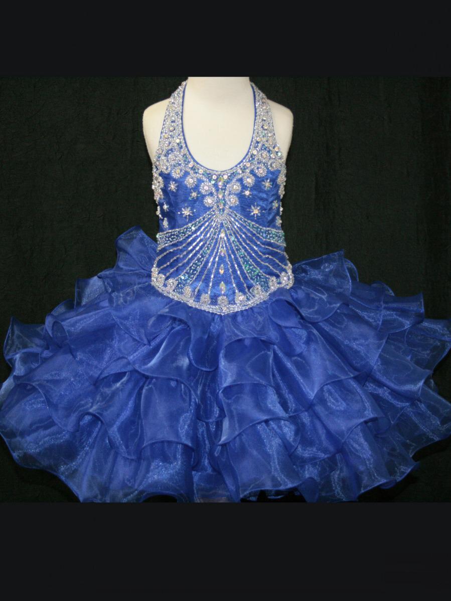 Summer Flower Girls Dresses Ball Gown Halter Mini Quinceanera Sequin