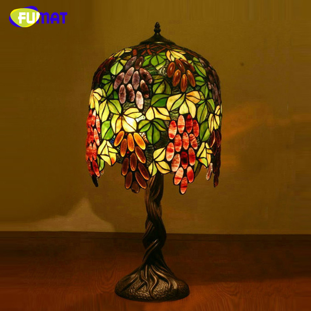 Fumat grape shade table lamp for living room european style stained glass lights art tiffany bedside