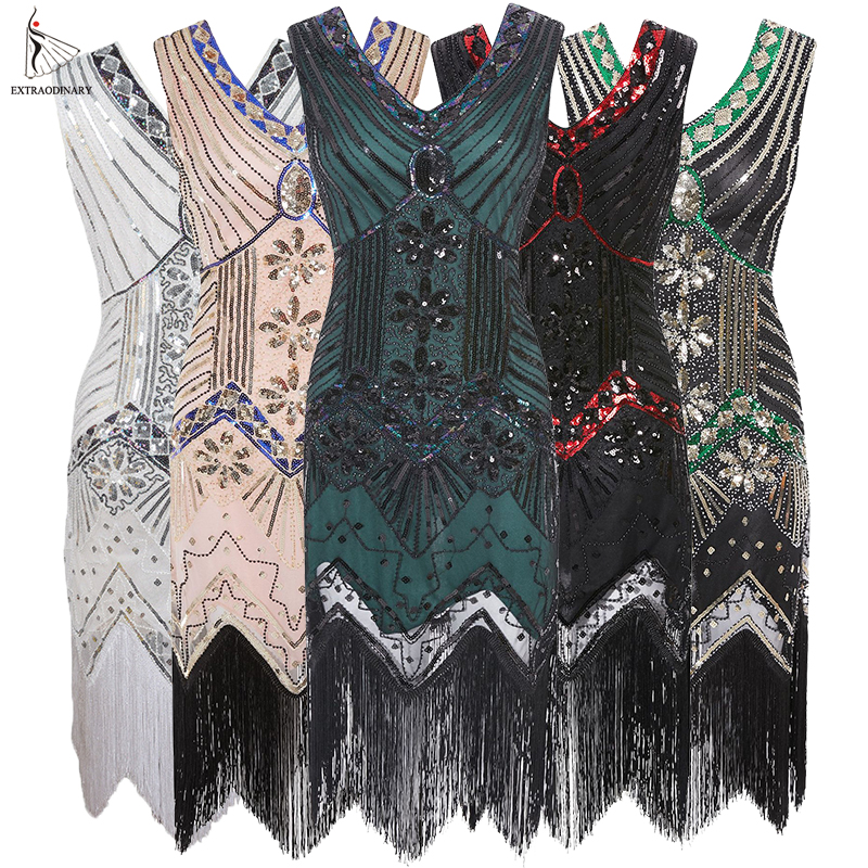 Image 2 - Women 1920 s Vintage Great Gatsby Dress Sequins Dress V Neck Tassels Bodycon Beaded Party Dress Flapper Dresses Art Deco Double-in Dresses from Women's Clothing