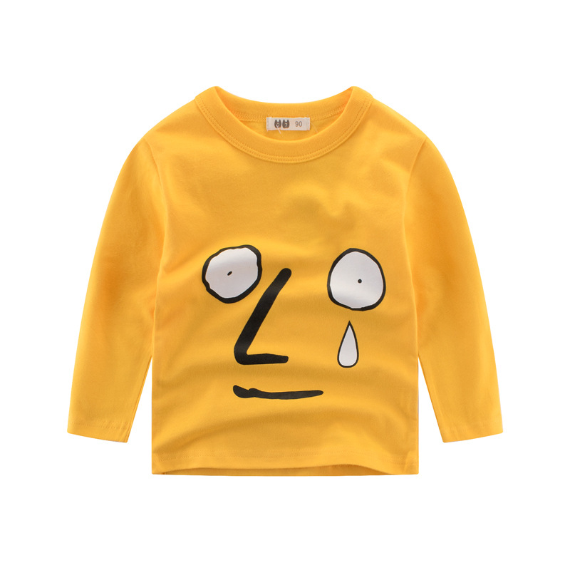 Hot Sale Funny Face Expression T Shirt Kids Long Sleeve Fashion Children T shirt 100% Cotton Boys Girls Tops 2018 Spring New