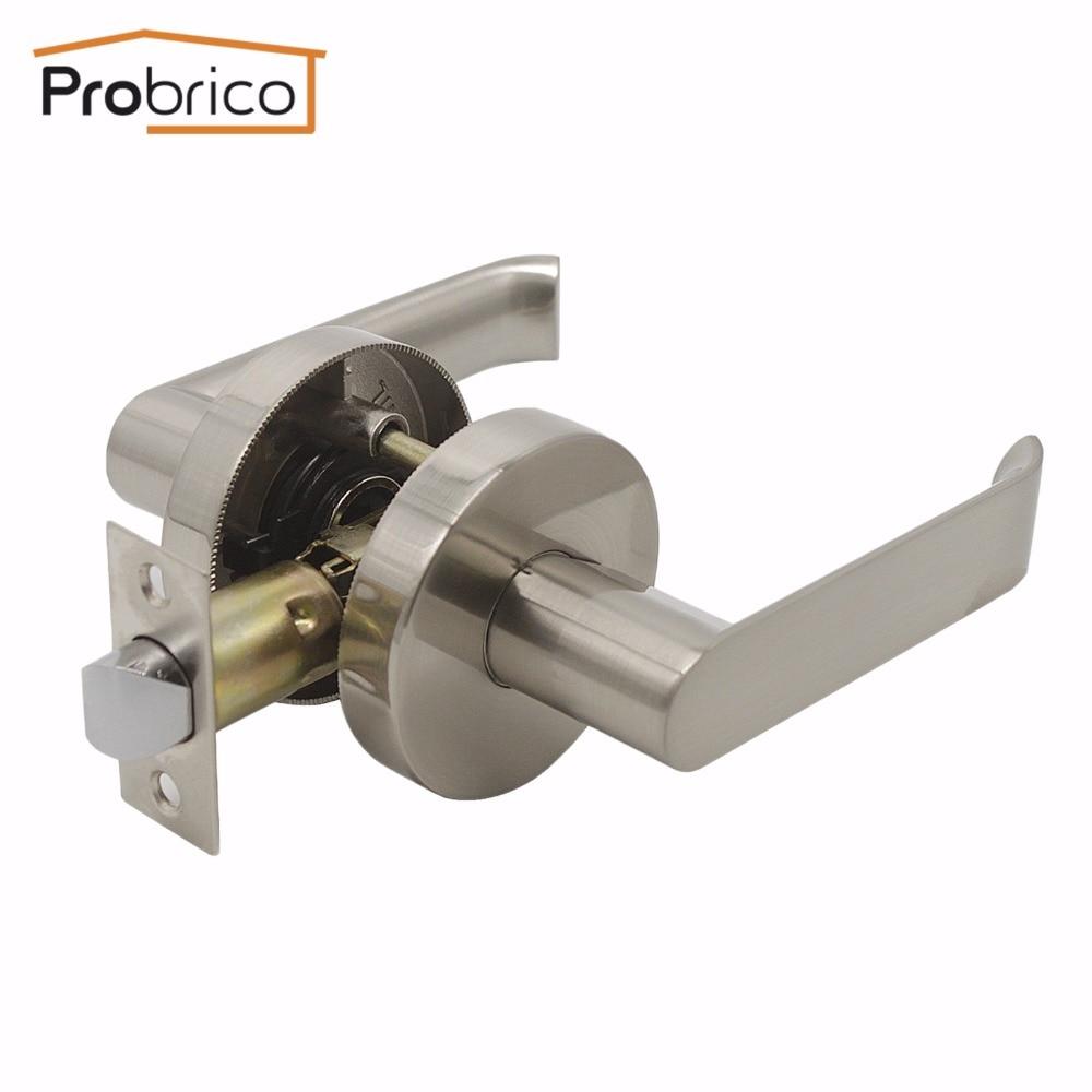 Bathroom and Closet Door Knobs Lock Brushed Nickel Interior Keyless Lock Set
