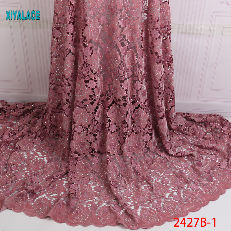 African Lace Fabric 2019 High Quality Nigerian Lace Fabrics  Guipure Cord Fabric Embroidery French Tulle Lace Fabric YA2427B-2