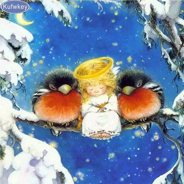5D DIY алмаз вышивка зима, ангел, Товары для птиц, полный квадрат дрель алмазов картина вышивки крестом горный хрусталь мозаичные украшения дома