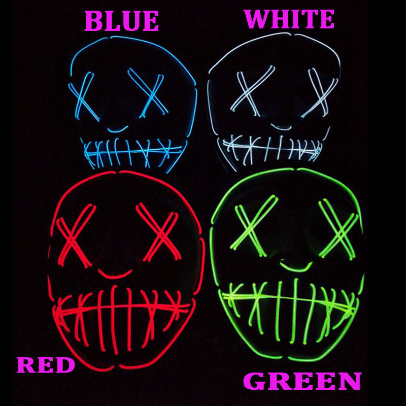 Costumes & Accessories Boys Costume Accessories The Cheapest Price Dropshipping El Wire Mask Light Up Neon Skull Led Mask For Halloween Party Theme Cosplay Masks