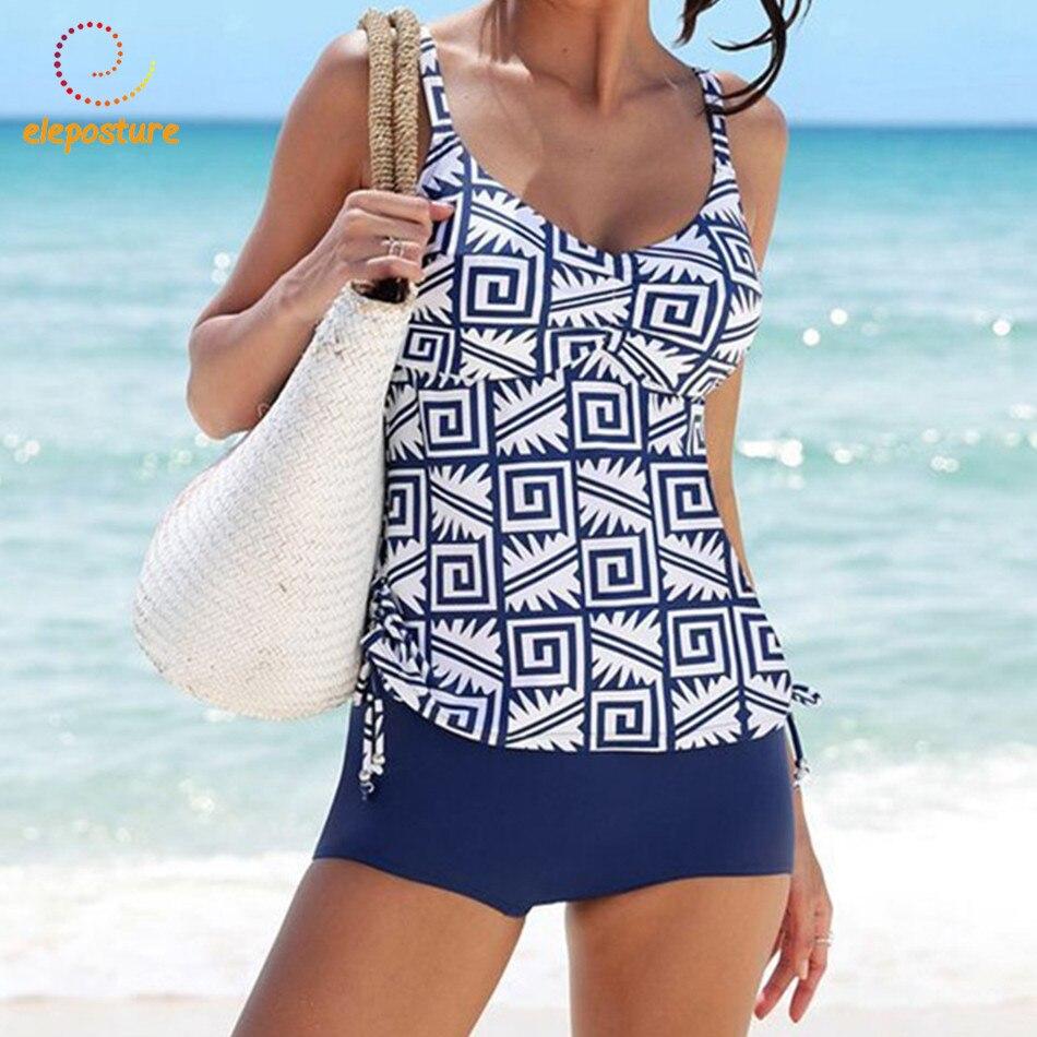 2019 New Tankini Swimsuits Women Swimsuit High Waisted Bathing Suits Vintage Retro Swimwear Swimming Suit For Women Beachwear XL
