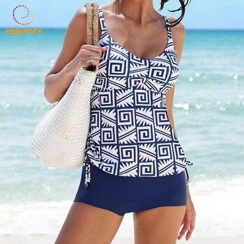 f96b66857281 2019 nuevos trajes de baño Tankini para mujer traje de baño de cintura alta  trajes de baño Retro Vintage traje de baño para mujer ropa de playa XL