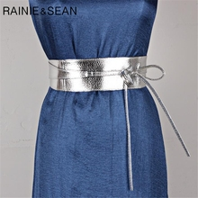 RAINIE SEAN Women Pu Leather Belt Soft Leather Wide Self Tie Wrap Wedding Designer Brand Ladies Belts For Dresses