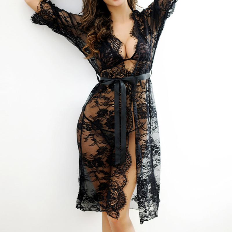 2019 Sexy Women Nightgown Sleepshirt Three Quarter V Neck Nightgowns Solid Full Lace Transparnet Hollow Out Dress Cardigant