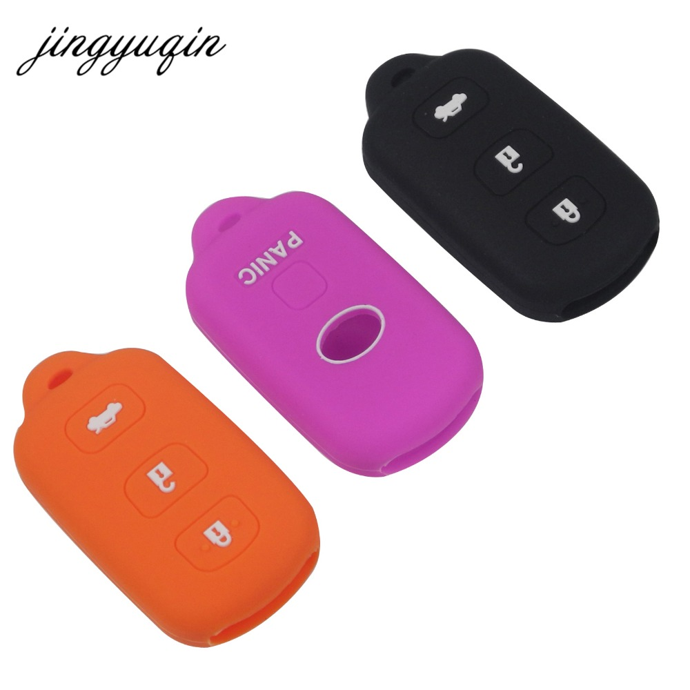 Jingyuqin Keyless Entry Remote Skin Silicone Cover For Toyota Camry Avalon Car Key Fob Case 3+1 Buttons Protective Holder
