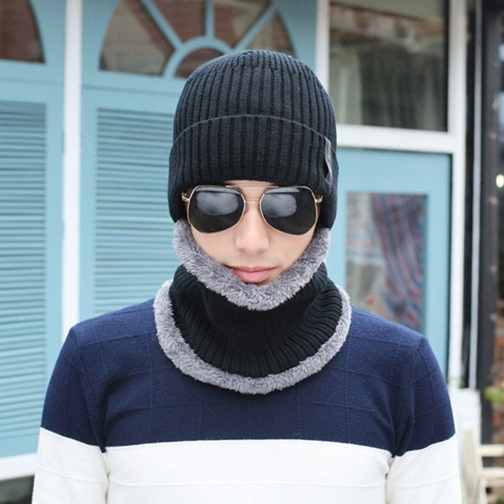 Men Women Beanie Hat Scarf Set Knitted Cap Braided Warm Velvet Thick Winter Head Accessory