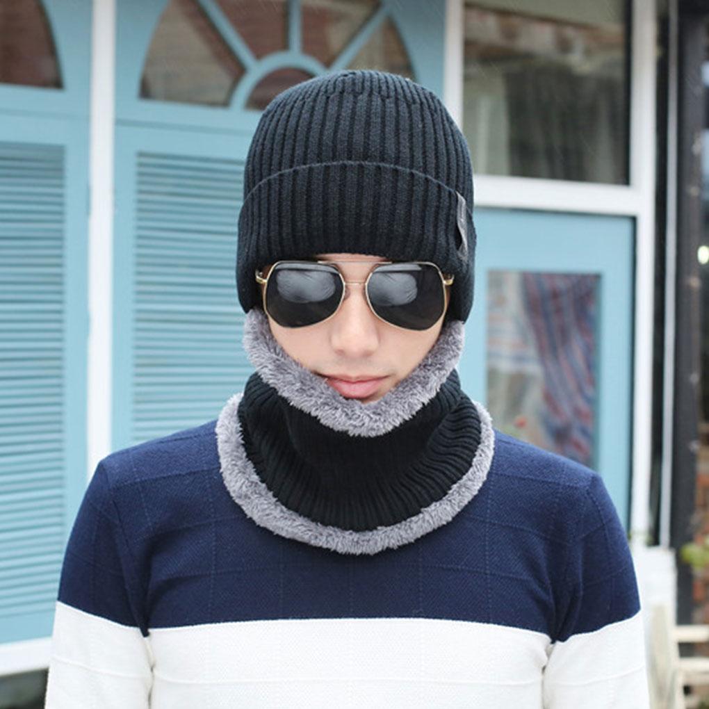 Men Women Beanie Hat Scarf Set Knitted Cap Braided Warm Velvet Thick Winter Head Accessory