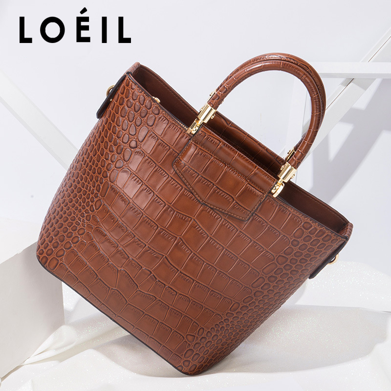 LOEIL Bag female 2018 new fashion wild leather handbags crocodile pattern suede leather handbag tote bag crocodile pattern tote bag with purse