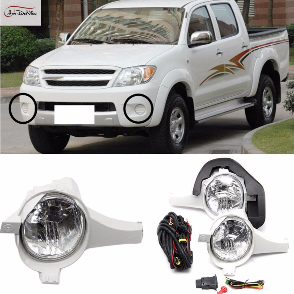 JanDeNing Car Fog Lights  For TOYOTA HILUX VIGO 2005-2007 Clear Front Fog Lamp Cover Trim Replace Assembly kit (one Pair) 1set front chrome housing clear lens driving bumper fog light lamp grille cover switch line kit for 2007 2009 toyota camry