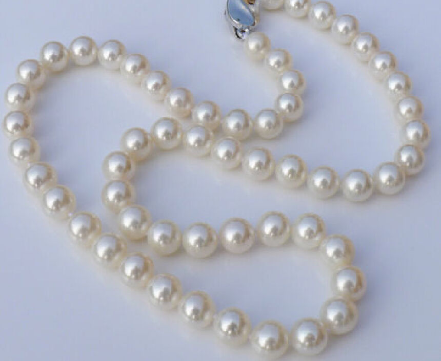 """AAAAA luster 18/""""10-11mm natural round REAL South sea WHITE pearl necklace 14K"""