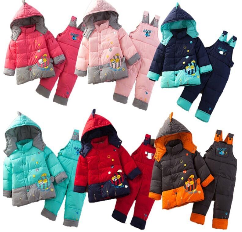 2014 Conjunto De Roupa Kids Clothes Sets Clothing Set And Winter Warm Down Jacket Suit Cartoon Children Overalls free Shipping стоимость