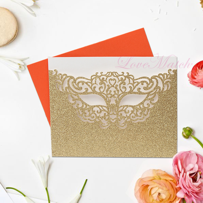 50pcs Mysterious Mask Laser Cut Wedding invitations Card Wedding Favors And Gifts for Guest Glitter Wedding Party Decoration