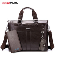 ZOROPAUL Fashion Men Tote Casual Briefcase Business Shoulder Black Leather High Quality Messenger Bags Laptop Handbag