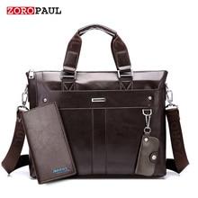 ZOROPAUL Mode Männer Trage Casual Aktentasche Schulter Schwarzes Leder High Quality Messenger Taschen Laptop Handtasche Herrentasche
