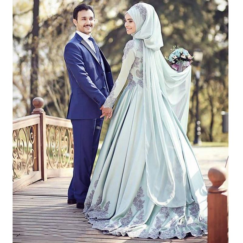 Modern Muslim Evening Dresses Long A-line Long Sleeves Bridal Formal Dress Muslim Women Evening Formal Dresses Bridal Maxi Gowns Платье