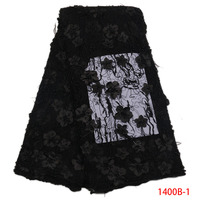 3D African Lace Fabrics Black Beaded Lace Applique Flowers Handmade Of Nigerian Lace Fabrics With Plume
