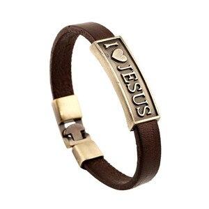 Image 2 - Zorcvens Vintage Brief Jesus Armband Mannelijke Gebed Christian Armband Leer Vrouwen Sieraden