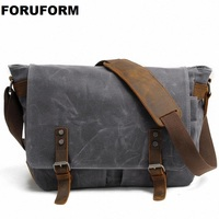 2019 New Men Messenger Bags Waterproof Canvas Men Vintage Handbags Travel Shoulder Bags 14 Inch Laptop Briefcase LI 1488