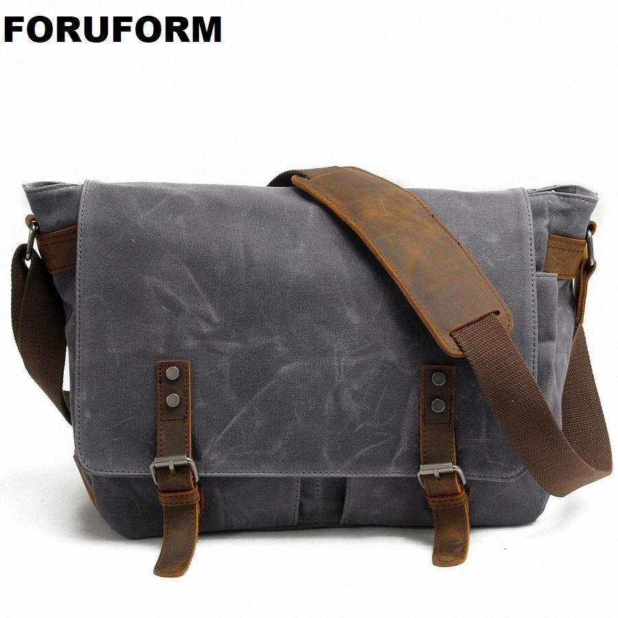 2019 nouveaux hommes Messenger sacs toile imperméable hommes Vintage sacs à main voyage sacs à bandoulière 14 pouces sacoche pour ordinateur portable LI-1488
